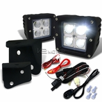 4-LED Cube Flood Beam Off-Road Fog Lights + Wiring Harness + Mounting Bracket