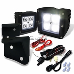 4-LED Cube Spot Beam Off-Road Fog Lights + Wiring Harness + Mounting Bracket
