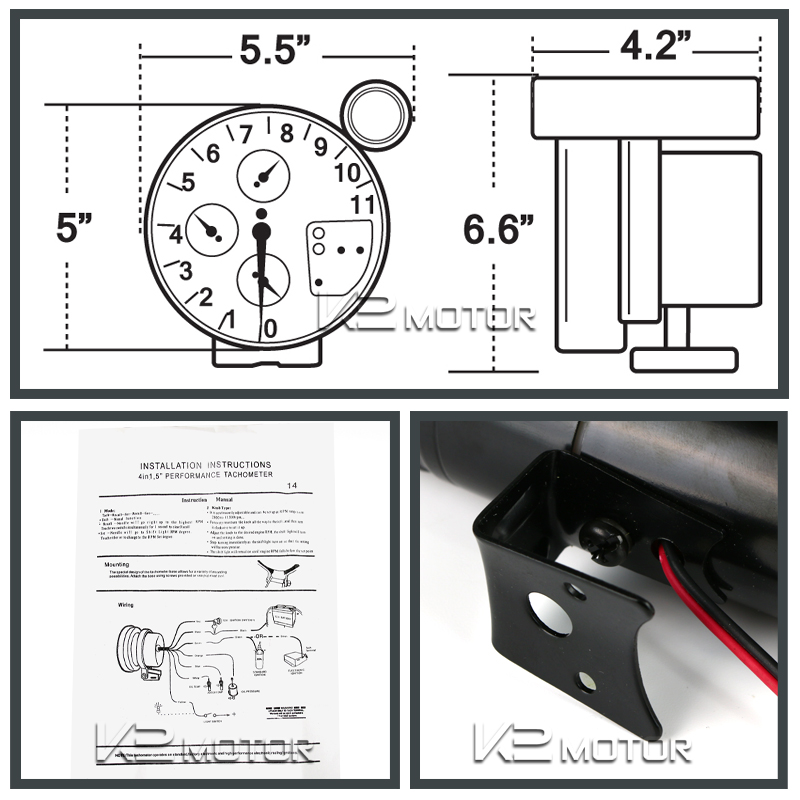 5 quot rpm tachometer water pressure temperature shift light kit