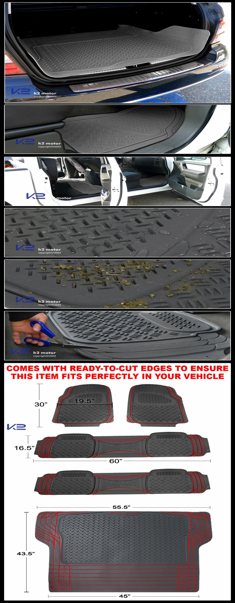 5pc Grey Heavy Duty 3d Print Floor Mats