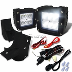 6-LED Cube Flood Beam Off-Road Fog Lights + Wiring Harness + Mounting Bracket