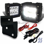 6-LED Cube Spot Beam Off-Road Fog Lights + Wiring Harness + Mounting Bracket