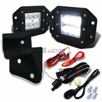6-LED Spot Beam Off-Road Fog Lights + Wiring Harness + Mounting Bracket