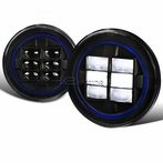 "7"" Round LED Blue-Rim Black Projector Headlights"