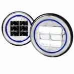 7? Round LED Blue-Rim Chrome Projector Headlights