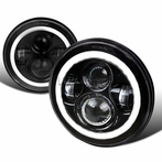 7� Round LED Halo Black Projector Headlights
