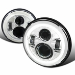7� Round LED Halo Chrome Projector Headlights