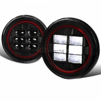 "7"" Round LED Red-Rim Black Projector Headlights"