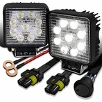 9-LED Off-Road Work Fog Lamps + Wiring Kit (2 Pieces)