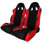 A Pair Of Bride Style Reclinable Racing Seats Sliders  (Black/Red)