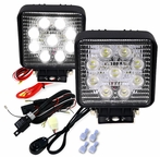 Pair of Square 9 LED Work Fog Lights + Wiring