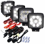 2 Pairs of Square 9 LED Work Fog Lights + Wiring