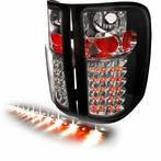 "Black Black LED Tail Lights + 60"" LED Tailgate Light Bar"