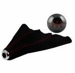 Black Chrome 5-Speed Shift Knob and Black Suede Boot with Red Stitching