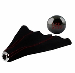 Black Chrome 6-Speed Shift Knob and Black Suede Boot with Red Stitching