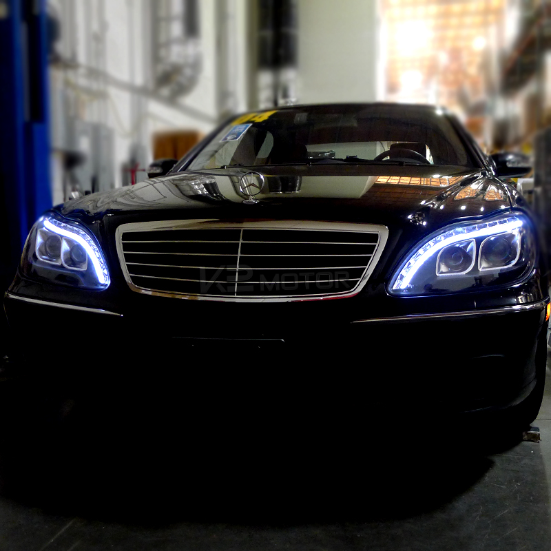 1998 2006 mercedes benz w220 s class black led projector for Mercedes benz projector lights