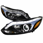 Black DRL R8 Style Projector Headlights