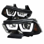 Black Dual Halo LED Projector Headlights