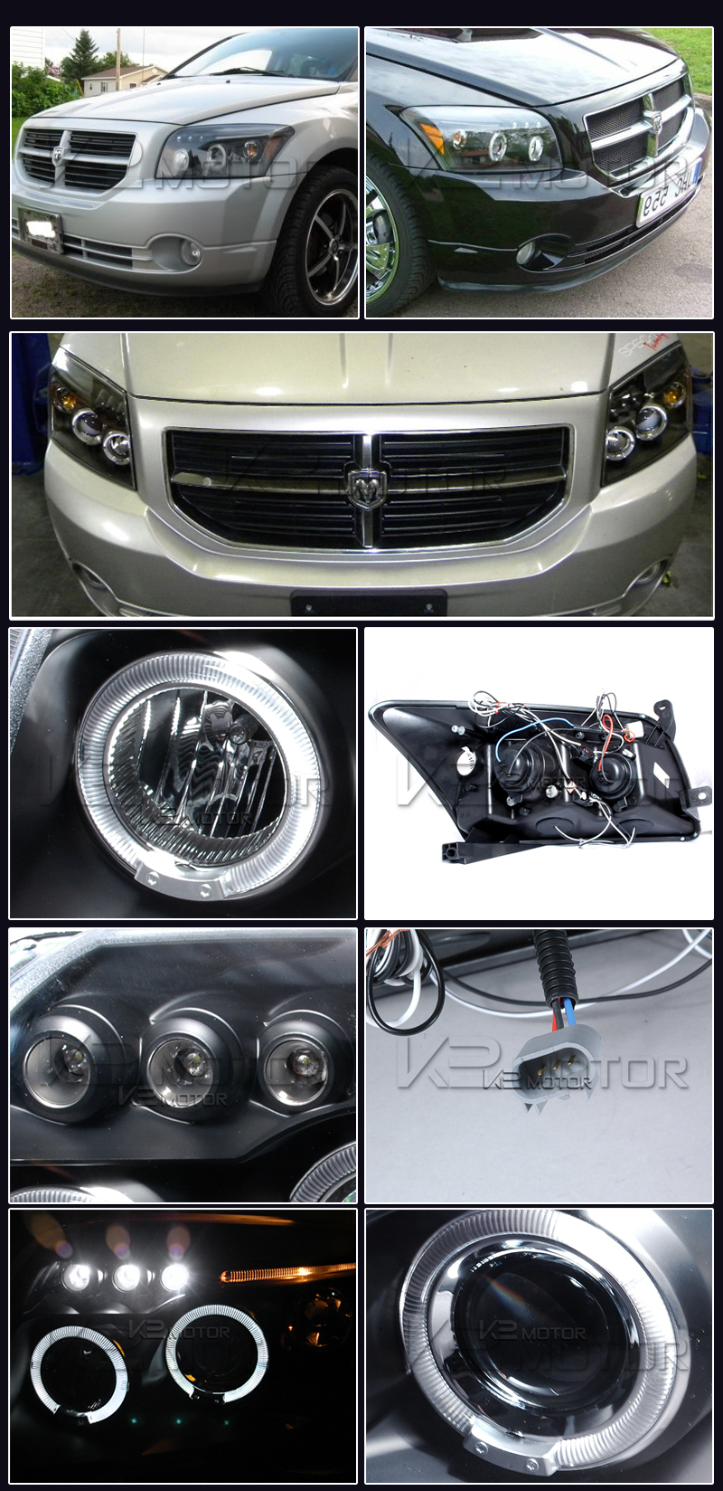 07 12 Dodge Caliber Dual Halo Led Projector Headlights Black Headlight Wiring Inset 1