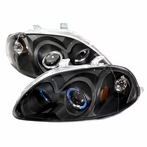 Black JDM Style Halo Projector Headlights