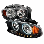 Black LED CCFL Halo Headlights