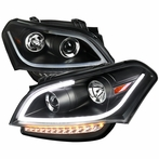 Black LED Crystal Projector Headlights