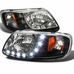 Black LED Euro Headlights 1PC