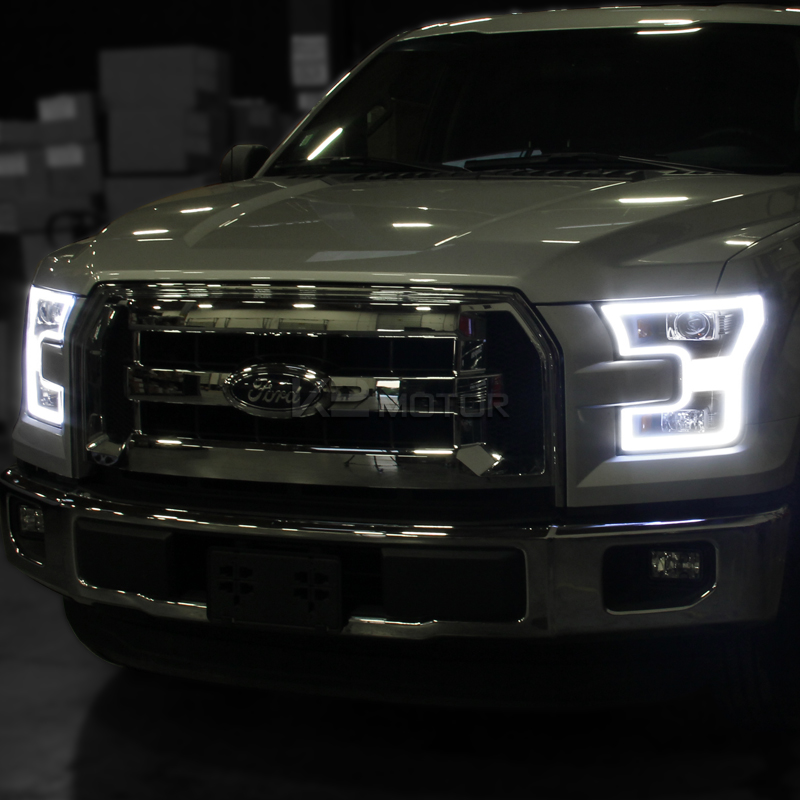 2015 2016 ford f150 led drl lights equipped black. Black Bedroom Furniture Sets. Home Design Ideas
