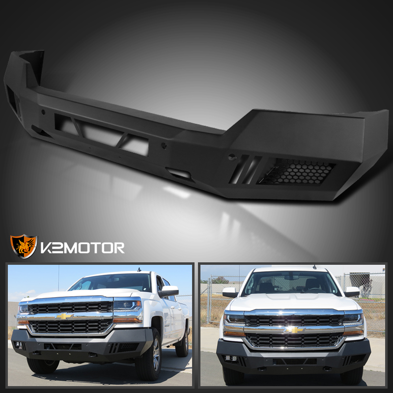 2016-2017 Chevy Silverado 1500 Black Steel Front Bumper Guards