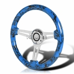 Blue Skull 3-Spoke Wooden Deep Dish Steering Wheel (350mm)