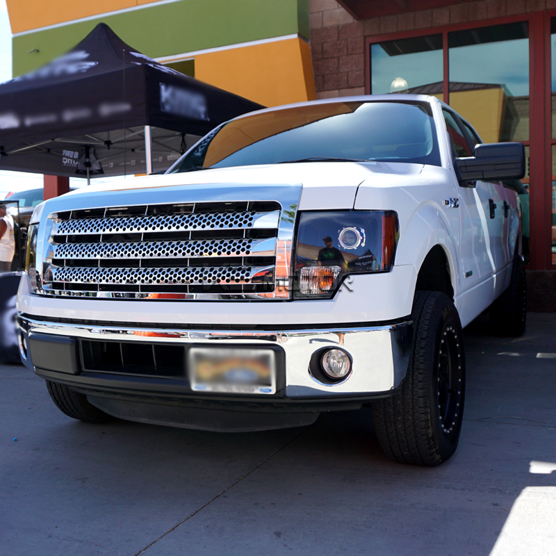09 14 Ford F150 Chrome Front Grill Round Hole Style