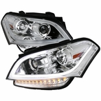 Chrome LED Crystal Projector Headlights