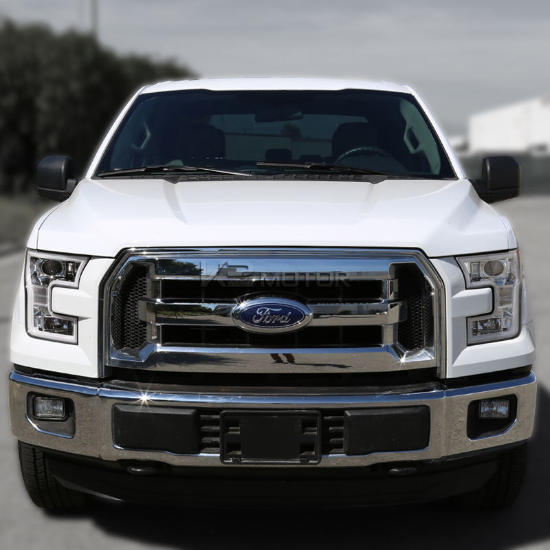 2015 2016 ford f150 led drl lights equipped chrome projector headlights. Black Bedroom Furniture Sets. Home Design Ideas