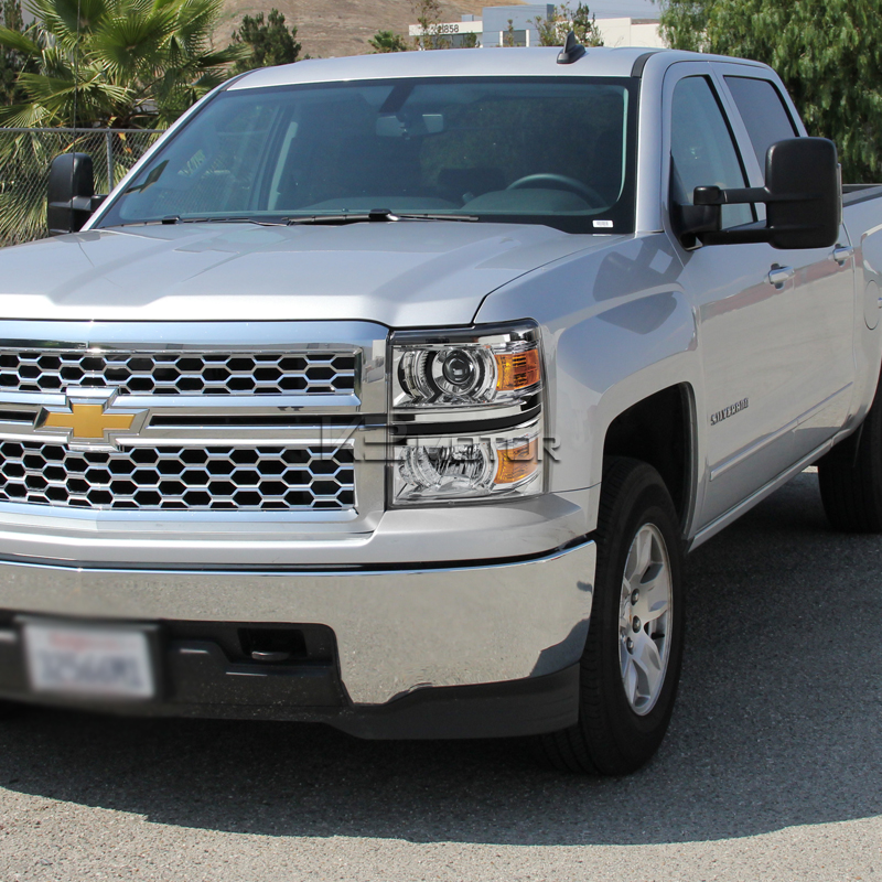 2014 2016 chevy silverado 1500 chrome projector headlights. Black Bedroom Furniture Sets. Home Design Ideas