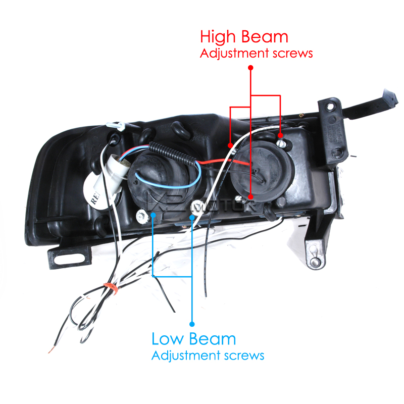 chrome projector headlights with wiring harness 14 1994 2001 dodge ram sport chrome led halo projector headlights 2001 dodge ram 3500 headlight wiring diagram at crackthecode.co