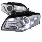 Chrome R8 Style LED Halo Projector Headlights