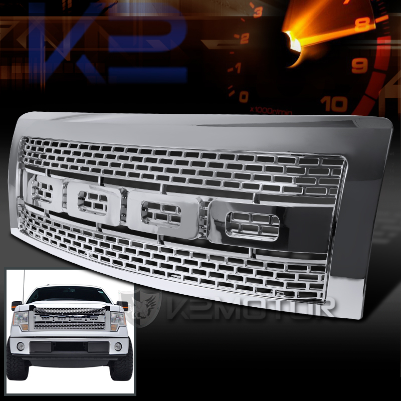 2009 2014 Ford F150 Chrome Raptor Style Front Bumper Grille