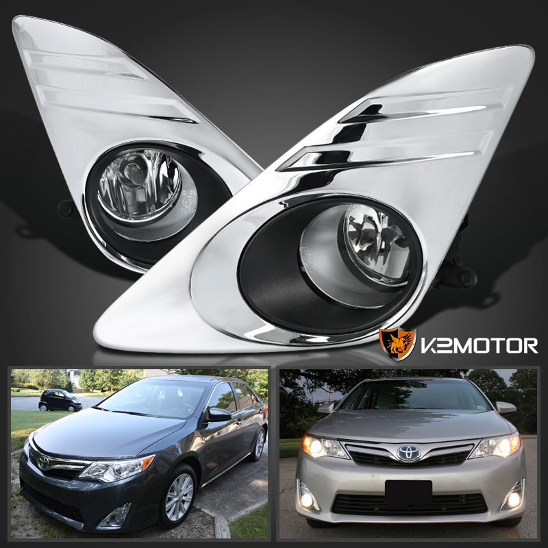 2012 2014 toyota camry clear lens chrome cover fog lights kit. Black Bedroom Furniture Sets. Home Design Ideas