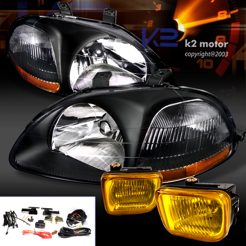 COMBO: 96-98 Honda Civic 4PC Headlights W/ fog Lights - Black/Yellow