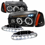 COMBO: Black Halo LED Projector Headlights + Corner Lights + LED Fog Lights