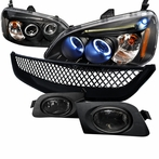 COMBO: Black Halo LED Projector Headlights + Fog Lights + Mesh Grille