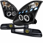 COMBO: Black Halo LED Projector Headlights + FREE Fog Lights