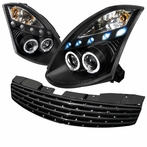 COMBO: Black Halo LED Projector Headlights + FREE Front Grille