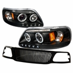 COMBO: Black Halo Projector Headlights + Front Grille