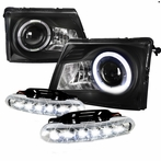 COMBO: Black Projector Halo Projector Headlights + LED Fog Lights