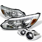 COMBO: Chrome Daytime Running Light LED Projector Headlights + Clear Fog Lights