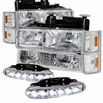 COMBO: Chrome Euro Headlights + Corner Lights + Bumper Lights Package + LED Fog Lights