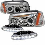COMBO: Chrome Halo LED Projector Headlights + Corner Lights + LED Fog Lights