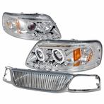 COMBO: Chrome Halo Projector Headlights + Front Grille