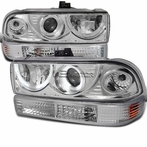 COMBO: Chrome Projector Headlight + Bumper Lights